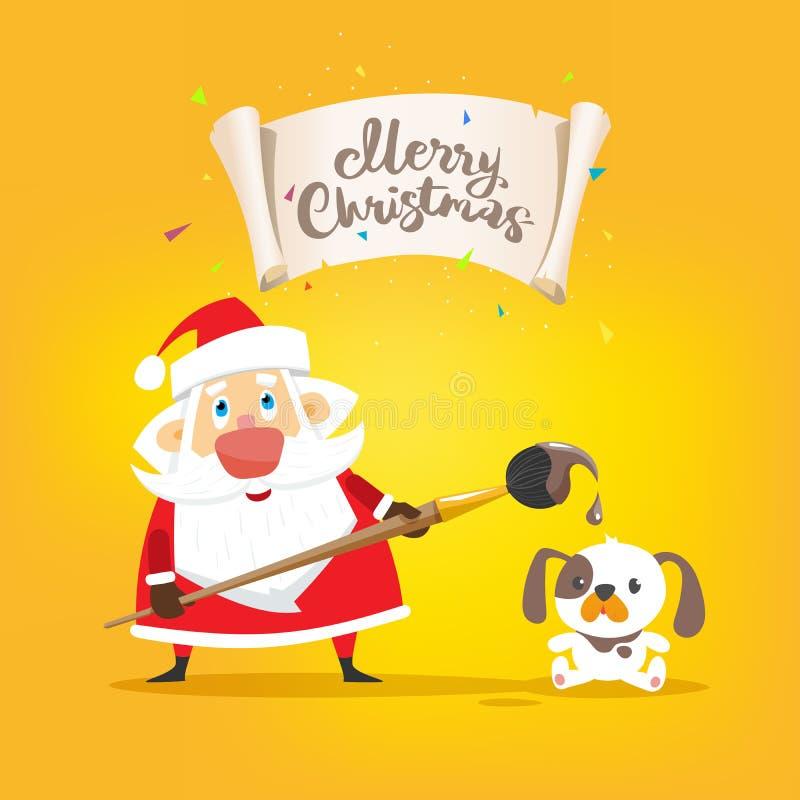 El drenaje de Santa Claus una Feliz Navidad del cartel y un pequeño perro se sienta stock de ilustración