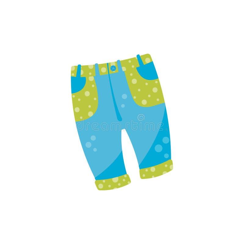 El dril de algodón lindo del bebé jadea con el botón y los bolsillos verdes Tejanos elegantes para la niña pequeña o el muchacho  stock de ilustración