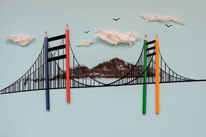 El drow del puente de Londres y los l?pices coloridos stock de ilustración