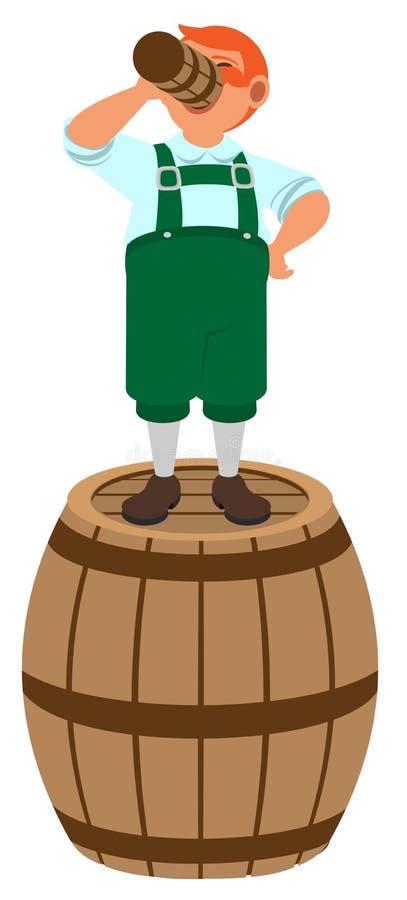 El duende alemán pelirrojo se coloca en barril de madera y bebe la cerveza libre illustration