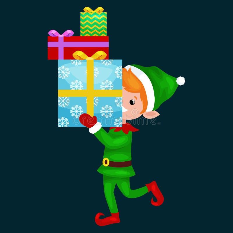 El duende de la Navidad aisló la pila de regalos en caja en un traje verde con, ayudante de Santa Claus, ayudante del muchacho qu libre illustration