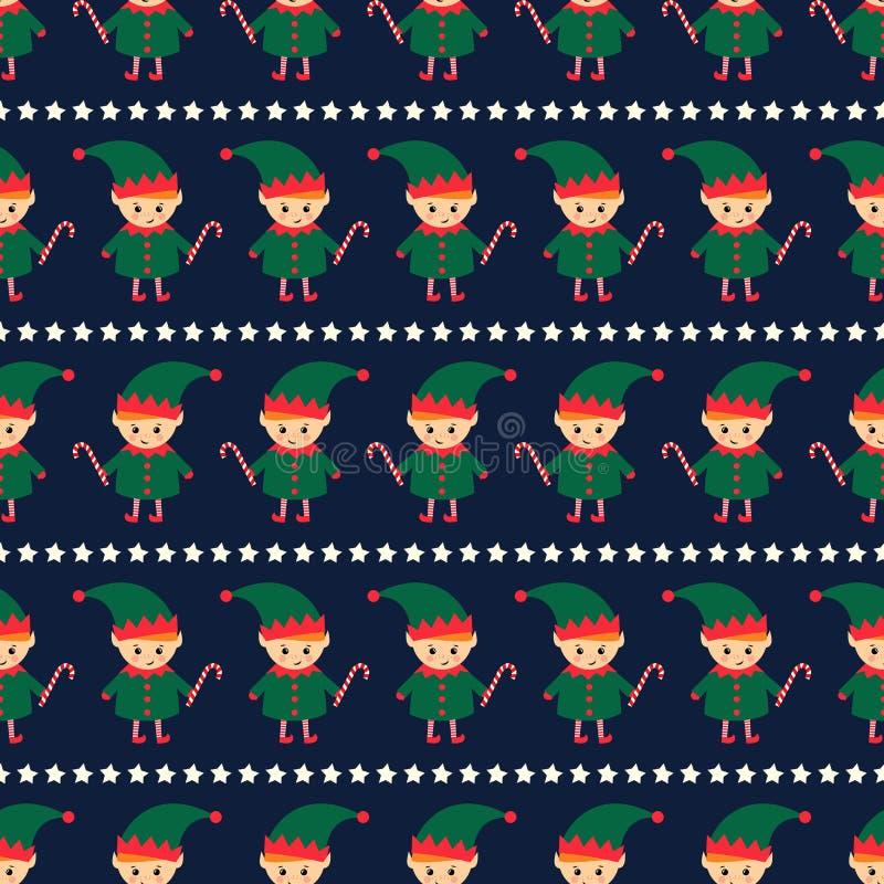 El duende de la Navidad con el bastón de caramelo y Navidad protagoniza el modelo inconsútil en fondo azul marino libre illustration