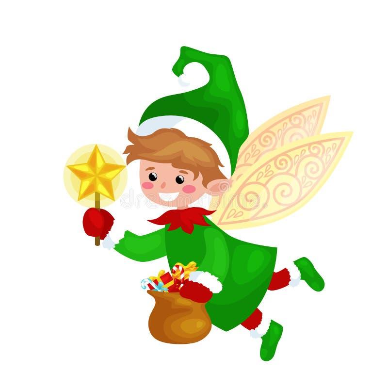 El duende de la Navidad del vuelo con las alas y la vara mágica protagonizan en un bolso verde de dulces, ayudante Santa Claus de ilustración del vector