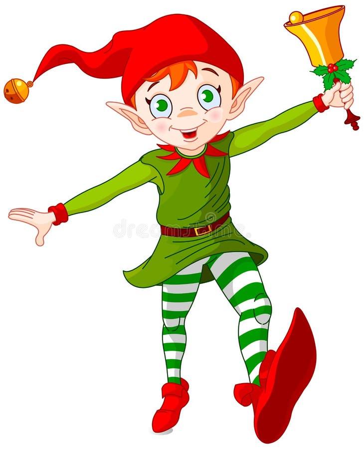 El duende de la Navidad salta stock de ilustración