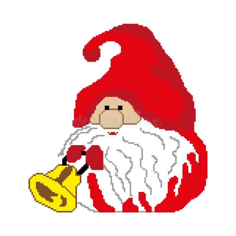 El duende de Papá Noel con una campana dibujada ajusta, los pixeles Feliz Año Nuevo de la tarjeta de felicitación Ilustración del ilustración del vector
