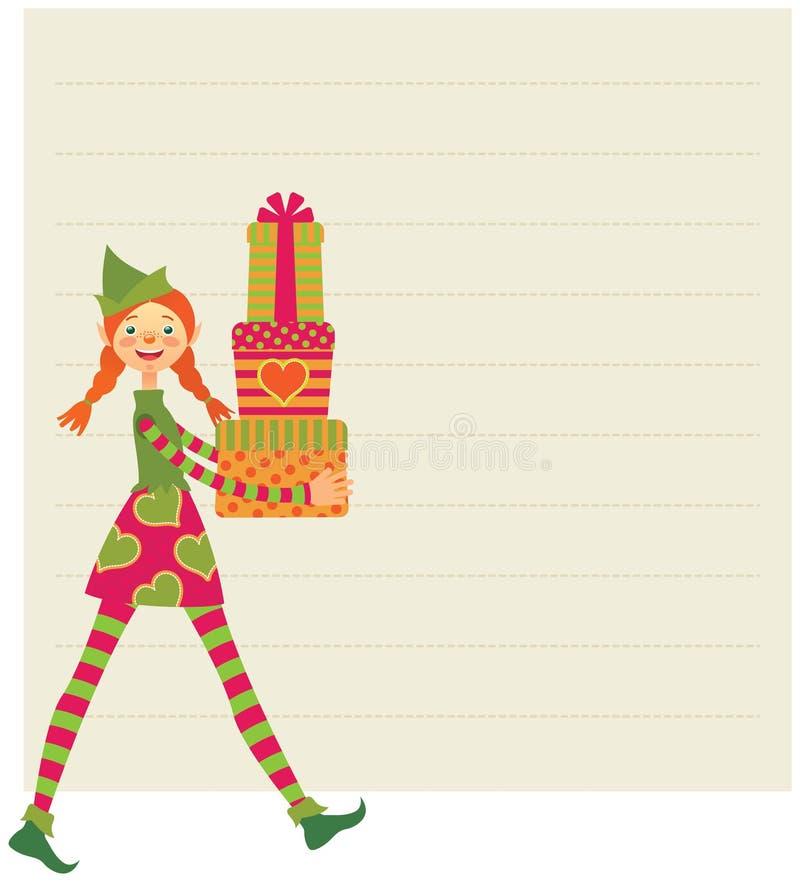El duende desea Feliz Navidad libre illustration