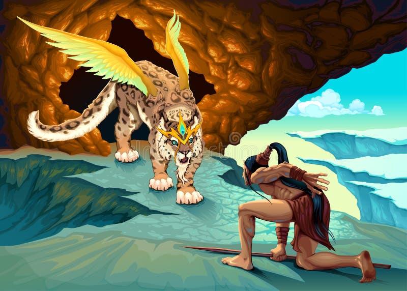 El duende está tratando de un lince con alas stock de ilustración
