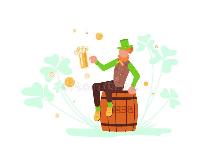 El duende lindo de la historieta se sienta en el barril de cerveza entre tr?bol stock de ilustración