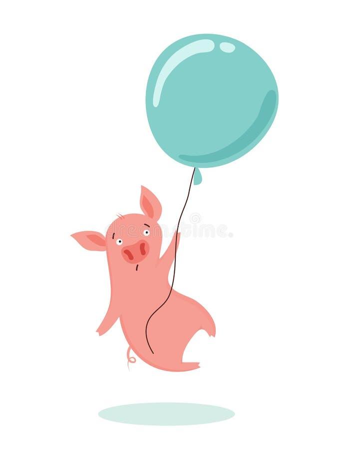 El dulce asustó el pequeño cerdo está volando en un globo del aire caliente Ilustración del vector ilustración del vector