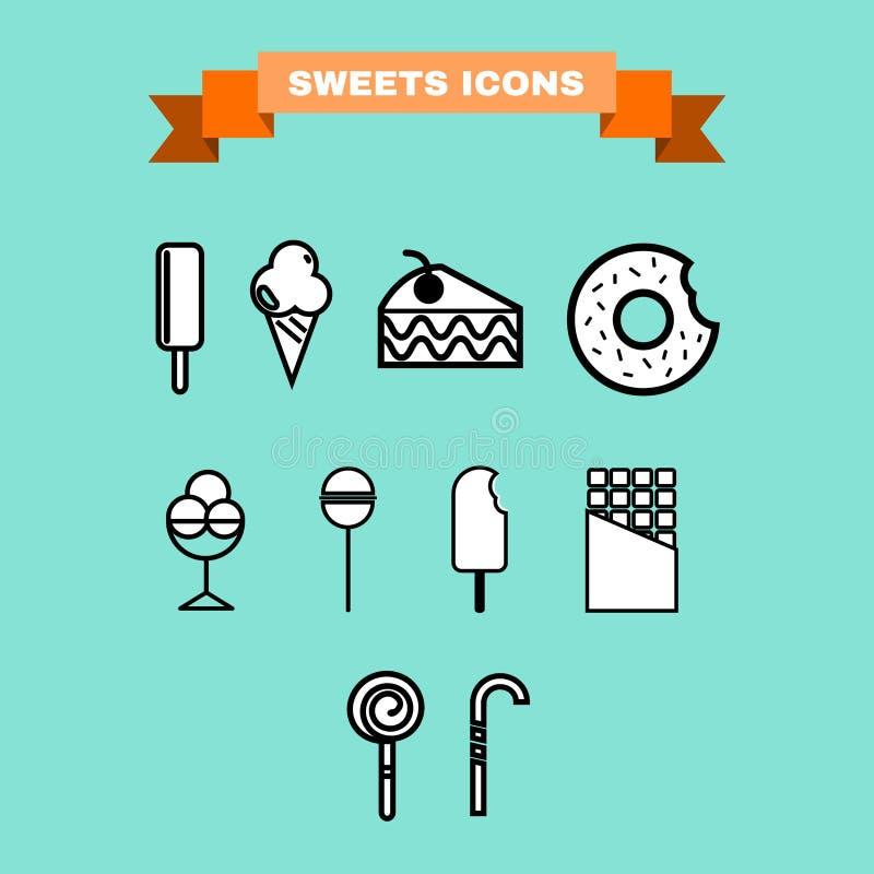 El dulce trata el sistema del icono del vector ilustración del vector