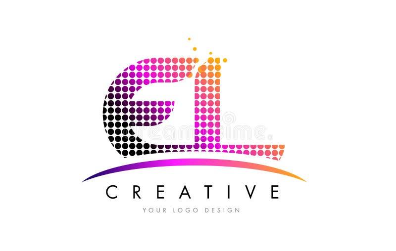 EL E L letra Logo Design com pontos magentas e Swoosh ilustração stock