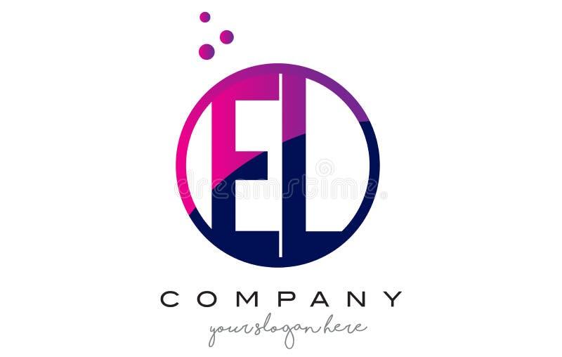 EL E L letra Logo Design do círculo com Dots Bubbles roxo ilustração do vetor