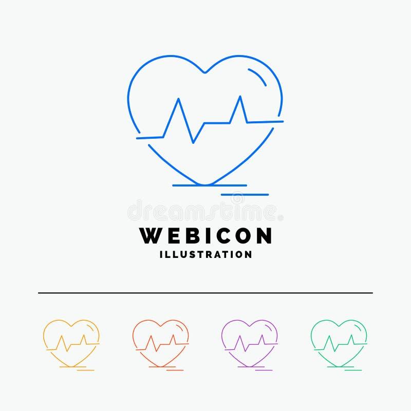 el ecg, corazón, latido del corazón, pulso, batió la línea de color 5 plantilla del icono de la web aislada en blanco Ilustraci?n stock de ilustración