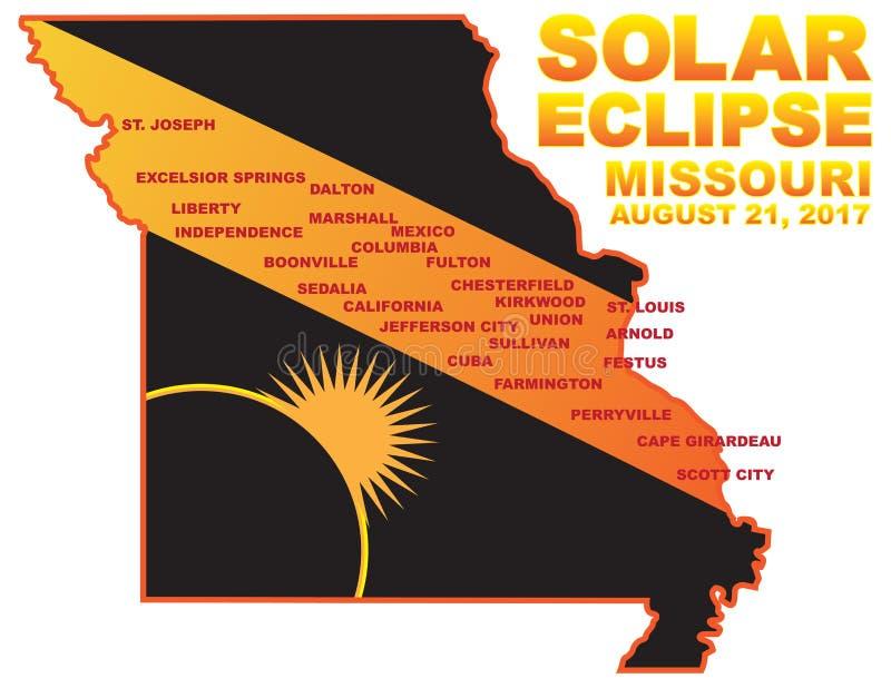 El eclipse solar 2017 a través de las ciudades de Missouri traza el ejemplo del vector libre illustration