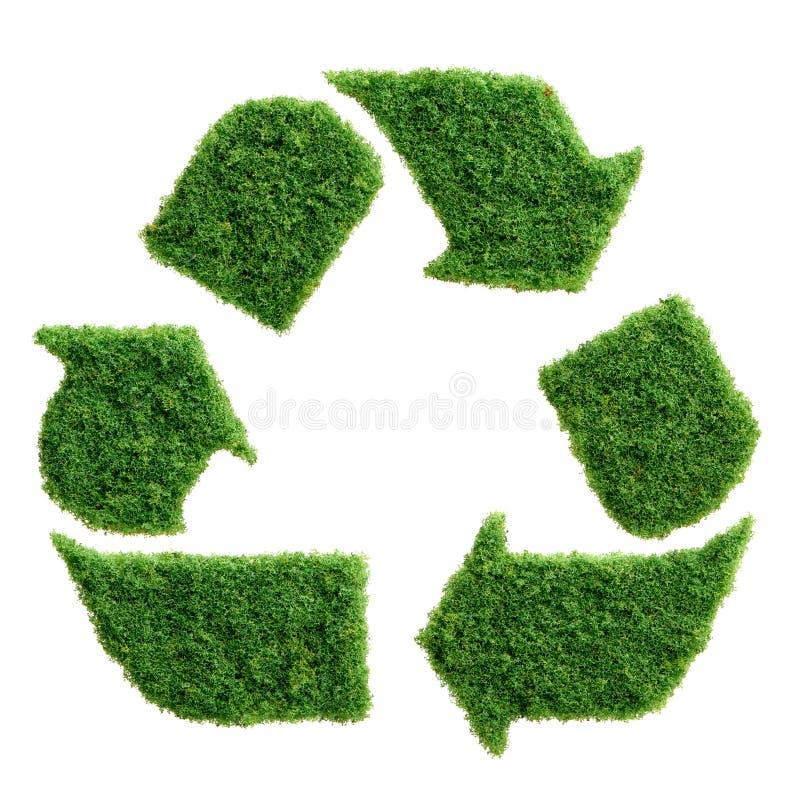 El eco de la hierba verde recicla el símbolo aislado imagen de archivo
