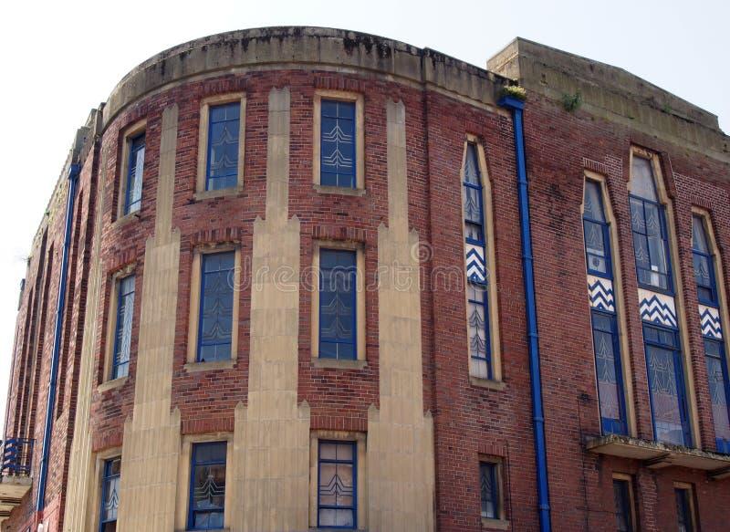 El edificio anterior del teatro del garrick en la calle del señor en southport un ejemplo del diseño del art déco del ladrillo de imagen de archivo libre de regalías