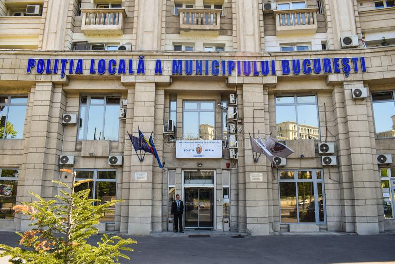 El edificio central del Departamento de Policía en el centro de la ciudad del edificio comunista del cuartel general de la policí foto de archivo