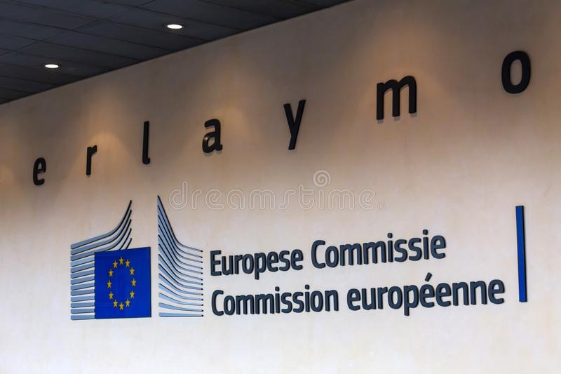 El edificio de Berlaymont firma adentro Bruselas Bélgica fotografía de archivo