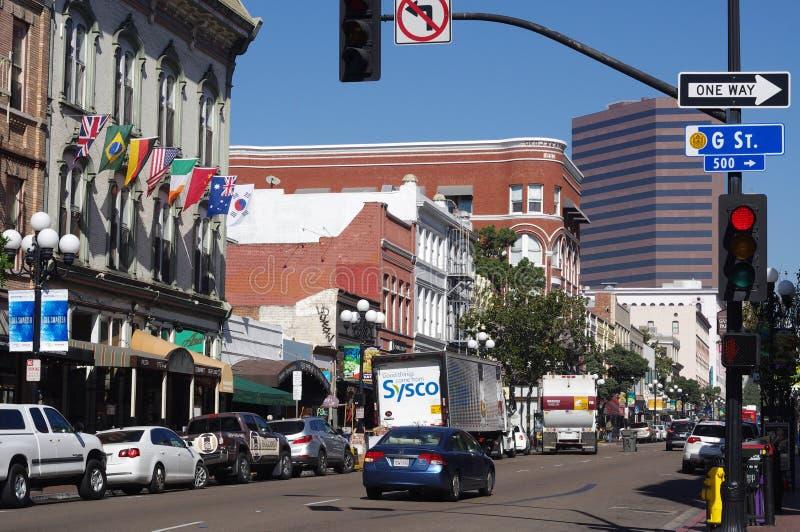 El edificio de Llewelyn en la 5ta avenida en el cuarto de San Diego's Gaslamp fotos de archivo libres de regalías