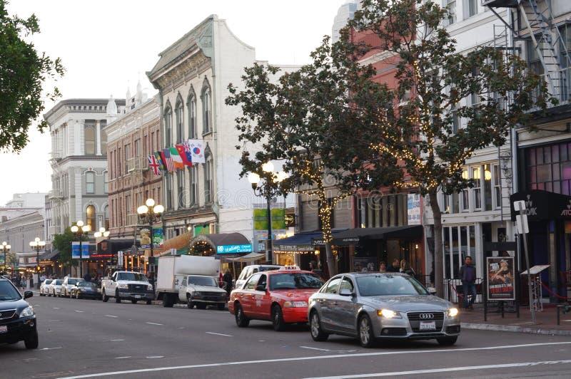 El edificio de Llewelyn en la 5ta avenida en el cuarto de San Diego's Gaslamp fotos de archivo