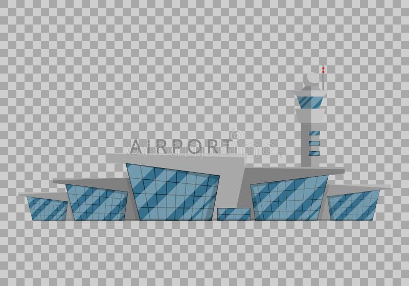 El edificio del aeropuerto está en el estilo plano en el ejemplo transparente del vector del fondo Aeropuerto moderno, volando stock de ilustración