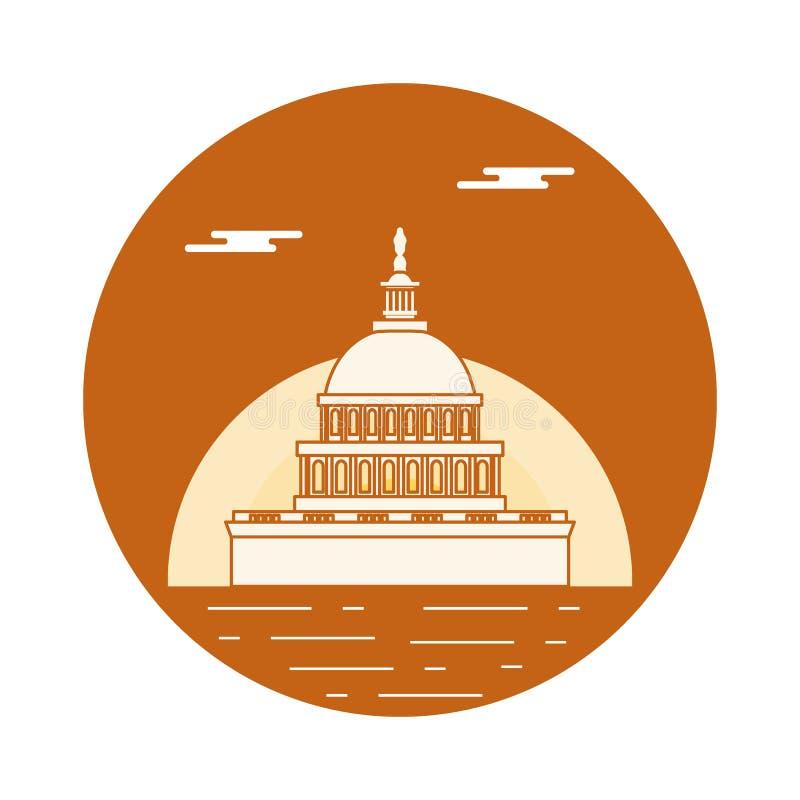 El edificio del capitolio del U S congreso Símbolos americanos stock de ilustración