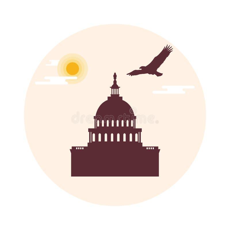 El edificio del capitolio del U S Congreso, sol, nubes y soari stock de ilustración