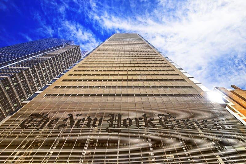 El edificio del diario de New York Times en Midtown Manhattan fotografía de archivo