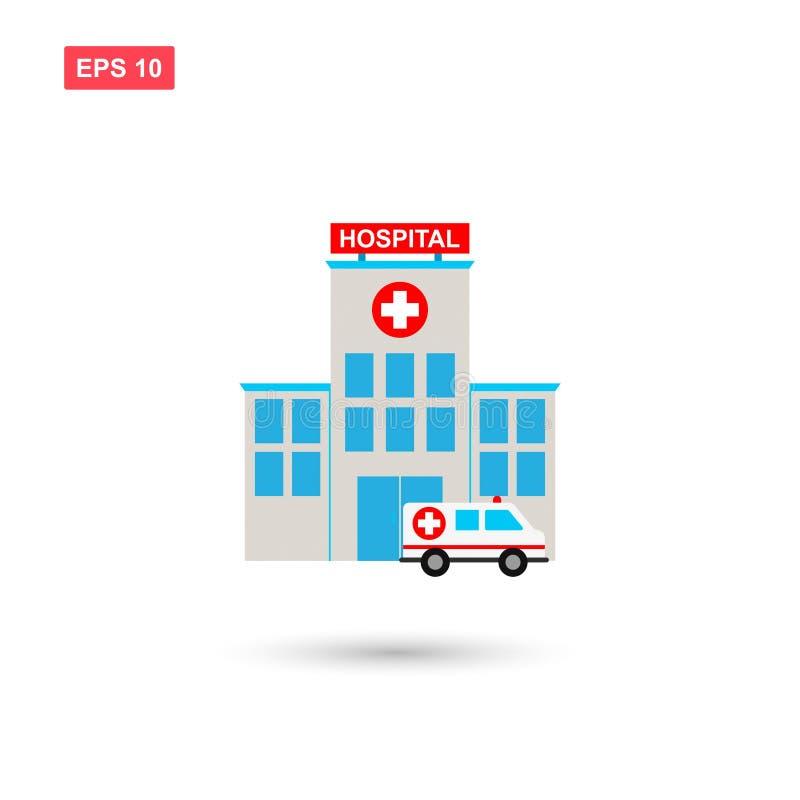 El edificio del hospital con el icono del vector de la ambulancia aisló ilustración del vector