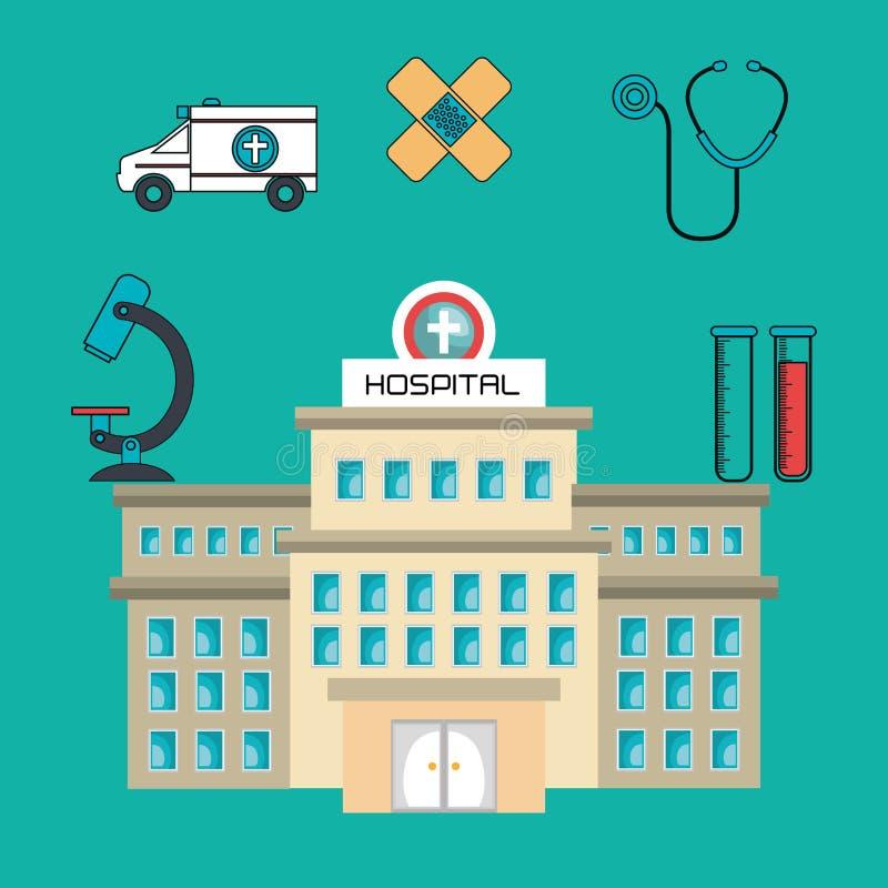 el edificio del hospital mantiene médico aislado stock de ilustración