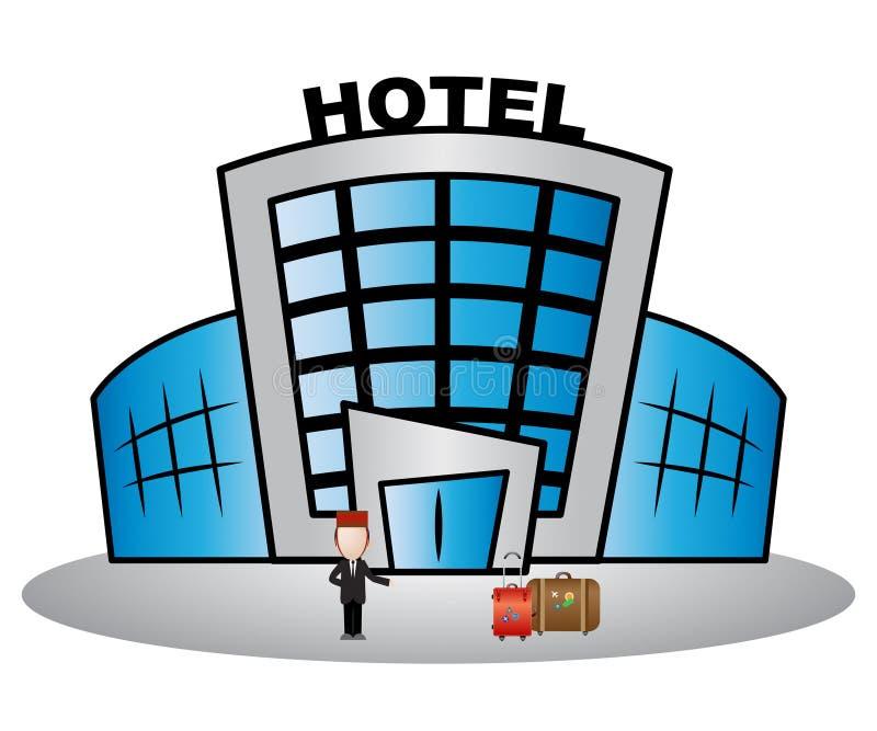 El edificio del hotel muestra el ejemplo del alojamiento 3d del día de fiesta libre illustration