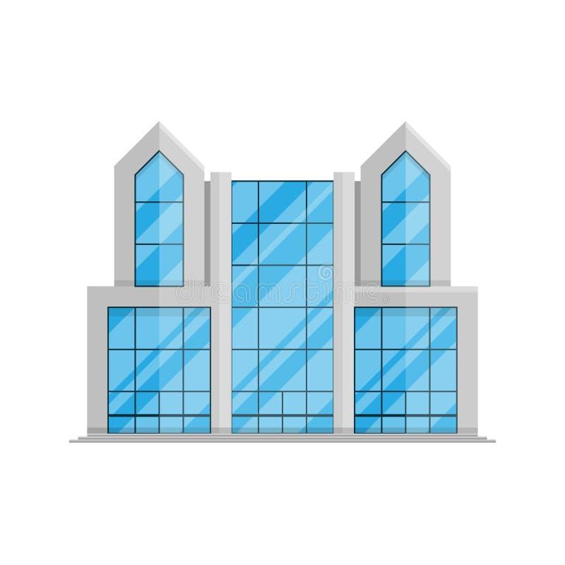 El edificio del negocio de la oficina aisló el plano en estilo en un ejemplo blanco del vector del fondo ilustración del vector