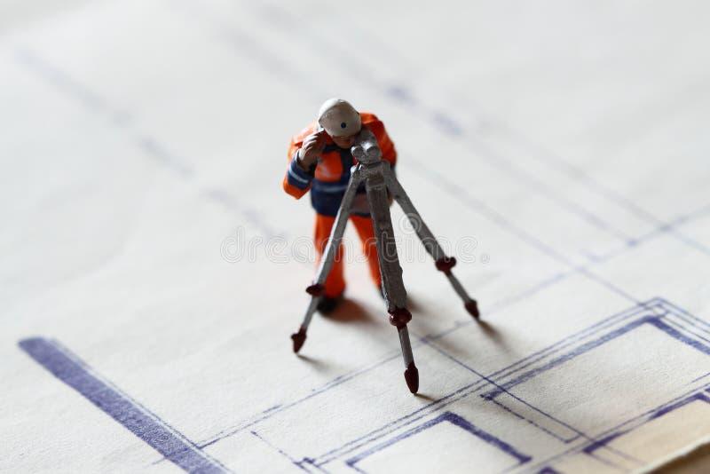 El edificio del trabajador de construcción modelo planea B imágenes de archivo libres de regalías