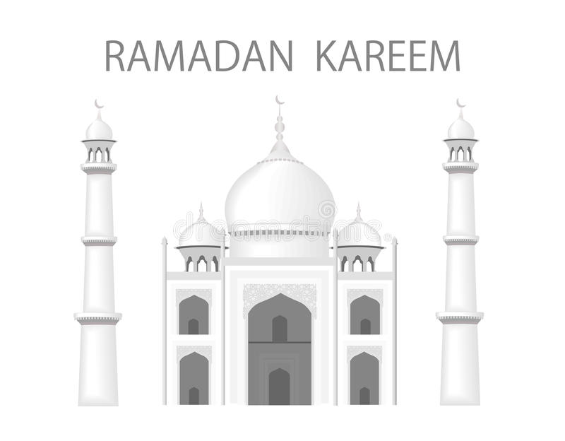 El edificio está en el estilo del templo de Taj Mahal La enhorabuena de la inscripción con el Ramadán Rebecca 36 ilustración del vector