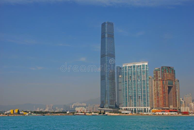 El edificio más alto en Hong Kong International Commerce Centre imagenes de archivo