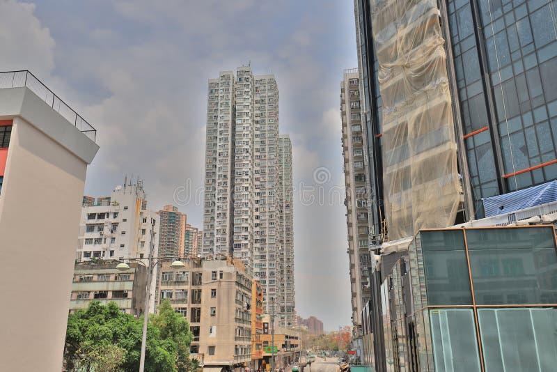 el edificio residencial en la Hong-Kong imagen de archivo