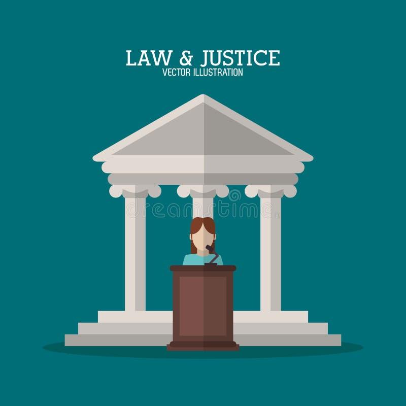 El edificio y el testigo de la ley y de la justicia diseñan ilustración del vector