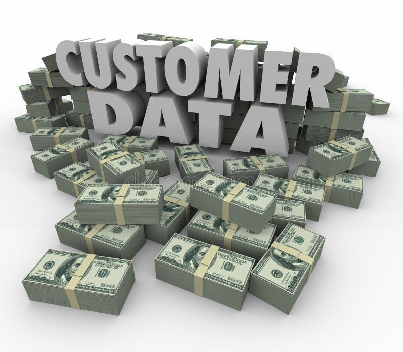 El efectivo del dinero de las palabras de los datos 3d del cliente apila el contacto valioso de las pilas stock de ilustración