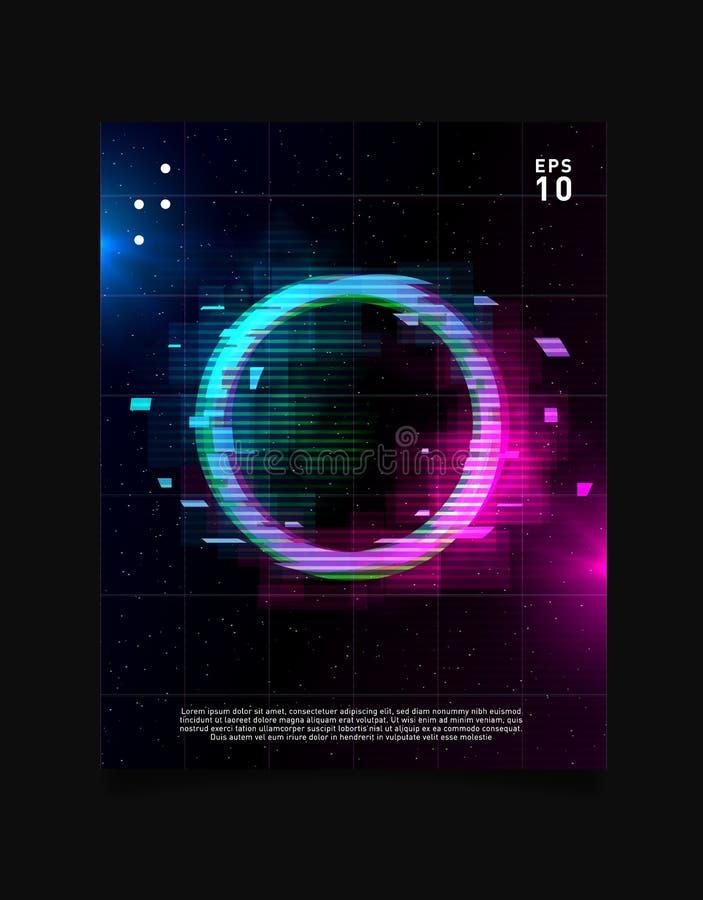 El efecto de la interferencia del círculo en rejilla del laser del espacio con azul y rosado brilla intensamente y humo Diseño de ilustración del vector