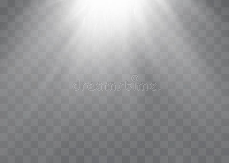 El efecto especial de la llamarada ligera con los rayos de la luz y de la magia chispea  ilustración del vector