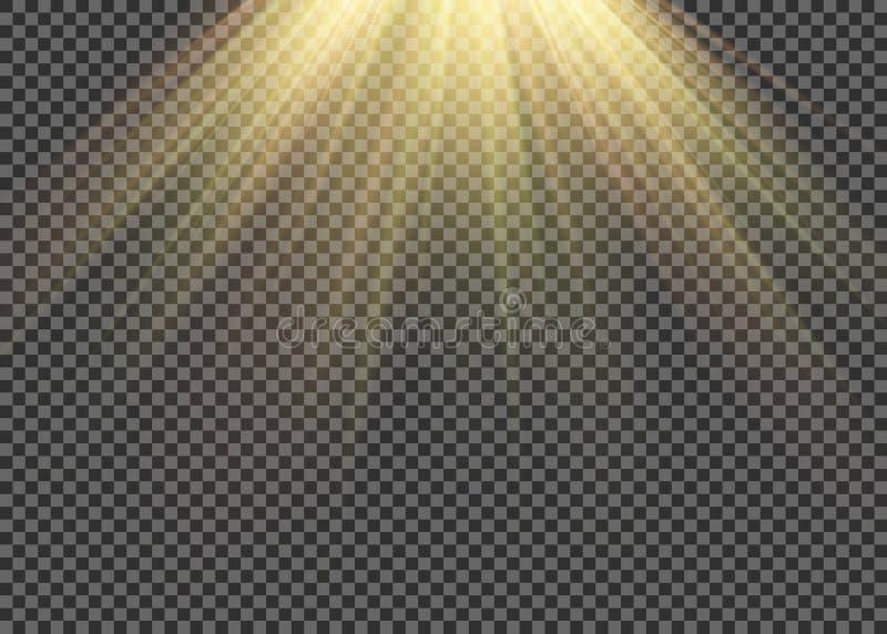 El efecto especial de la llamarada ligera con los rayos de la luz y de la magia chispea Sistema transparente del efecto luminoso  fotografía de archivo libre de regalías