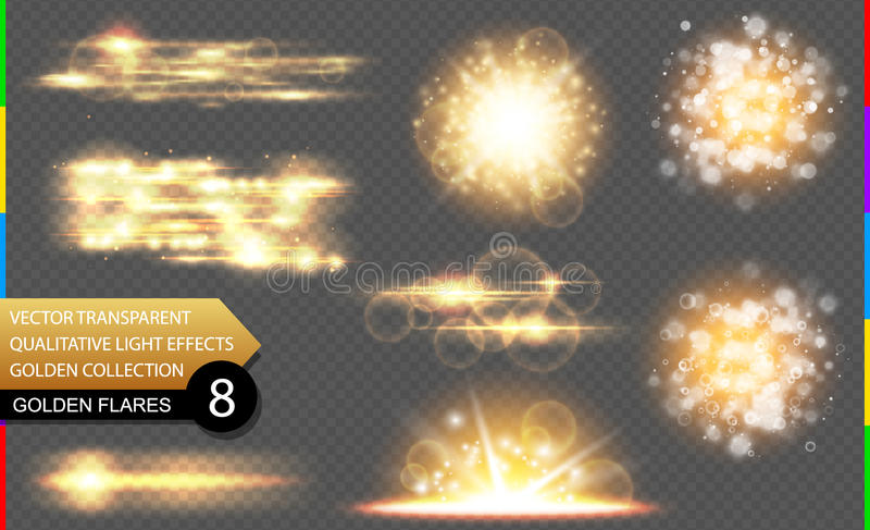 El efecto luminoso especial de oro del vector abstracto fijó en fondo transparente Llamarada y chispa hermosas del resplandor stock de ilustración