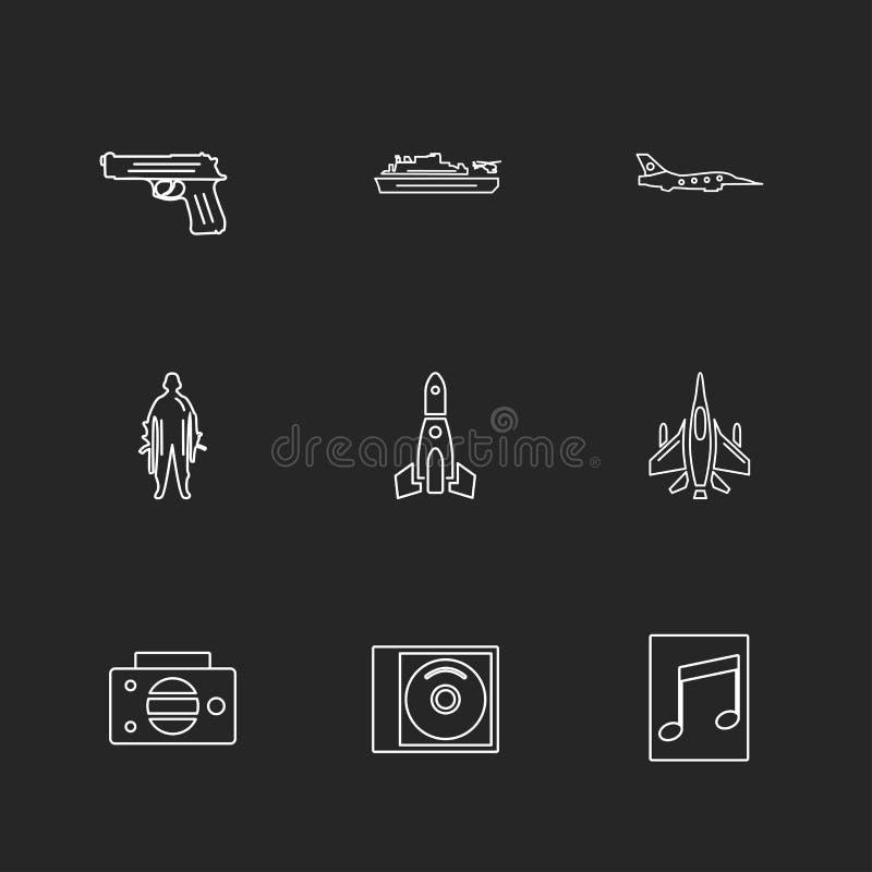 el ejército, armadura, los tanques, armas, guerras, iconos del EPS fijó vector stock de ilustración