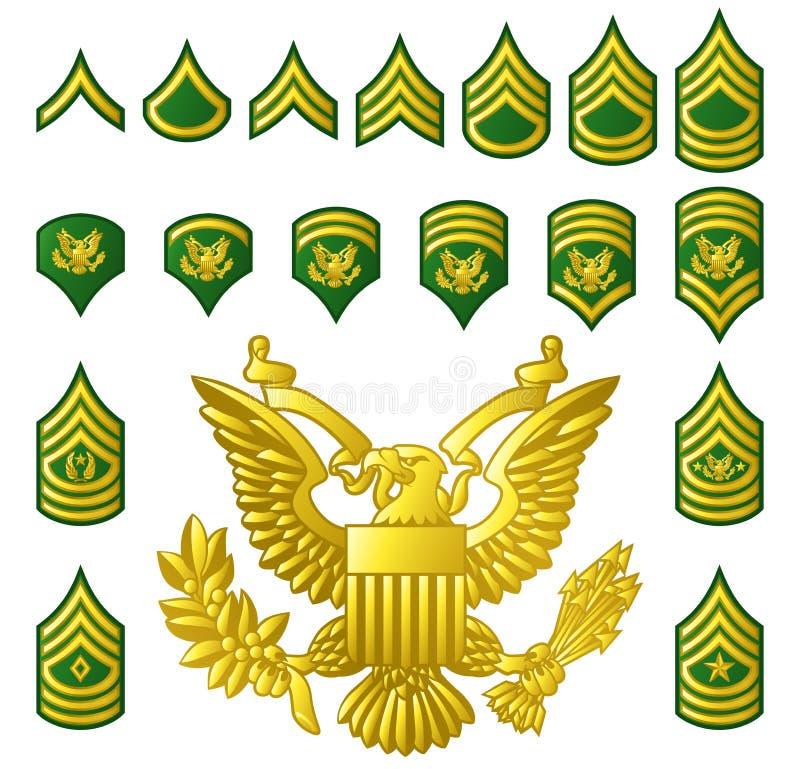 El ejército militar alistó insignias de las filas ilustración del vector
