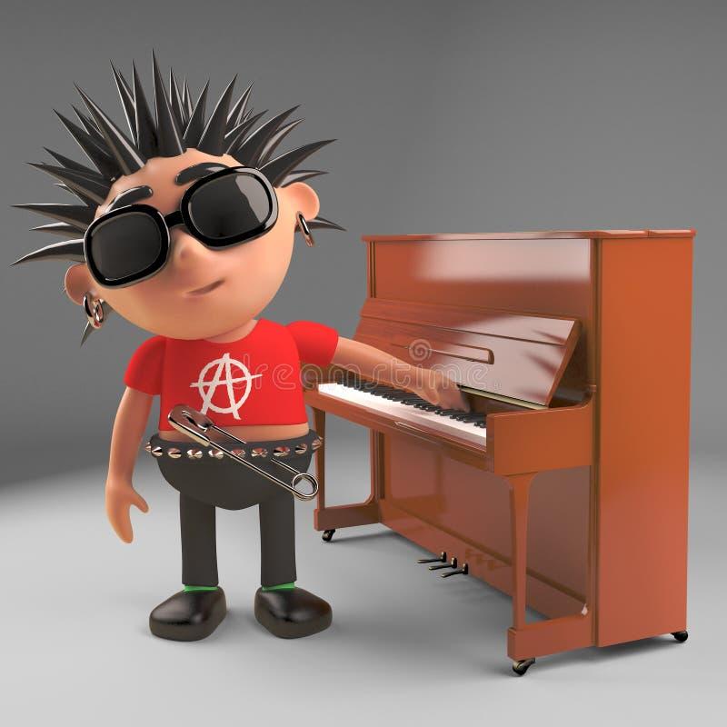 El eje de balancín punky indiferente no está en el humor para jugar el piano hoy, el ejemplo 3d ilustración del vector