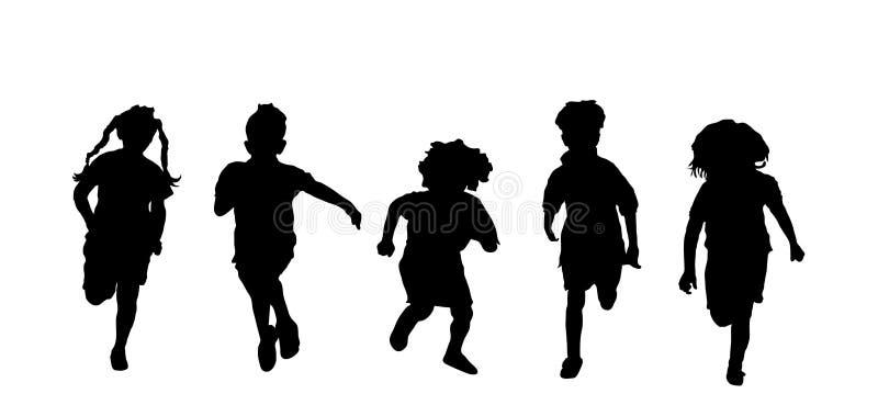 El ejecutarse de los niños ilustración del vector