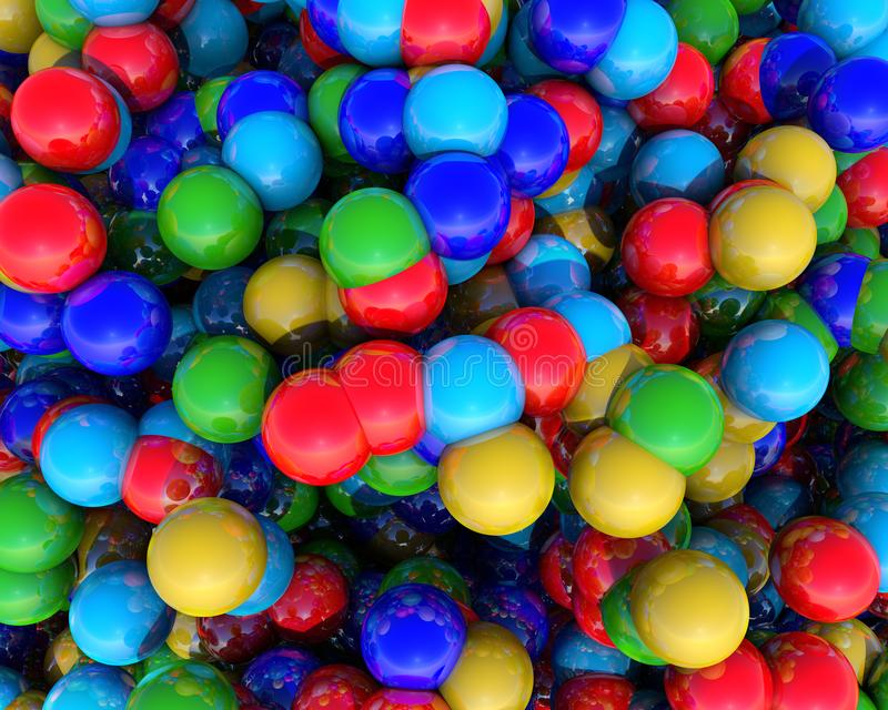 El ejemplo abstracto 3D de rendido coloreó bolas geométricas bajo la forma de elementos de la visión superior en el fondo libre illustration