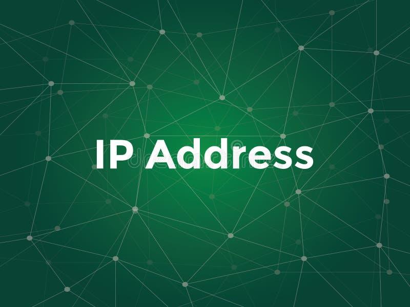 El ejemplo blanco del texto para el concepto del IP address - es una etiqueta numérica asignada a cada dispositivo que participa  ilustración del vector