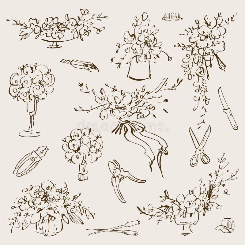 El ejemplo botánico del vintage florece el ramo y el sistema de herramientas florístico Concepto de la boda Concepto de la flor D stock de ilustración