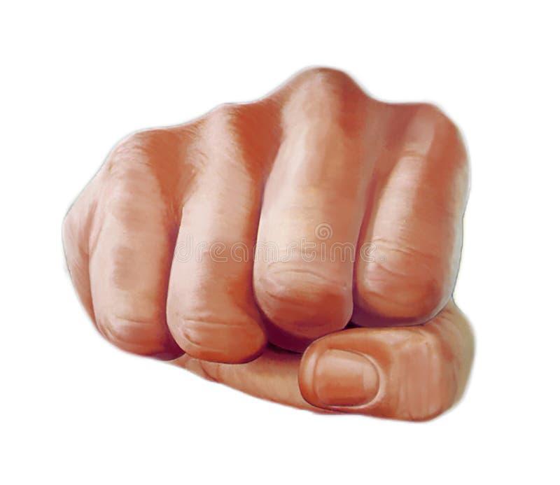 El ejemplo coloreado de una mano de perforación con un puño apretado apuntó directamente al espectador aislado en blanco fotos de archivo libres de regalías